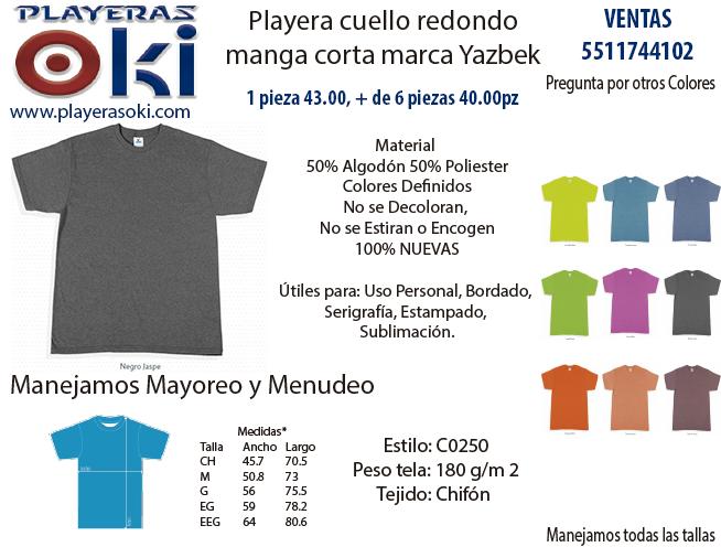 Playera Manga Corta Cuello Redondo, 50% Algodón y 50% Poliester, Mayoreo Menudeo, Varios Colores, To