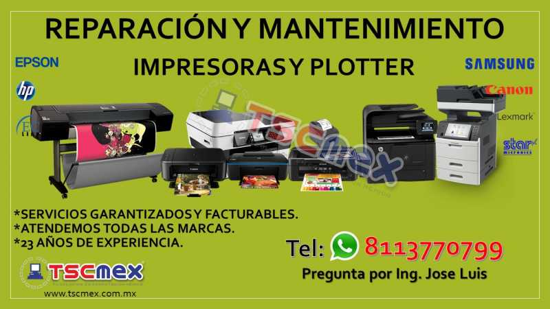 Reparación y Mantenimiento a Impresoras y Plotter